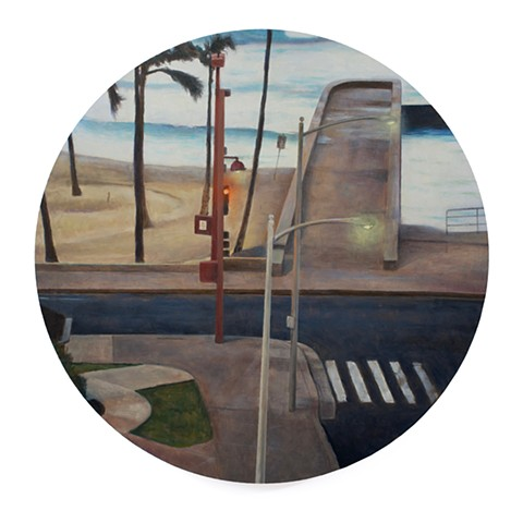 Concrete Beach is a realistic landscape painting by Kyle Andrew Phillips. It is 20 inches in diameter done in oil on a wood panel tondo.