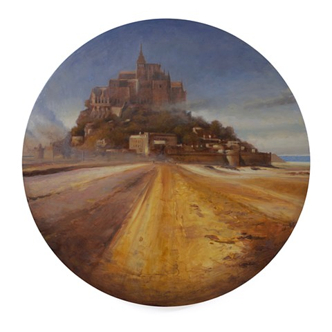 Mont Saint-Michel is a realistic landscape painting by Kyle Andrew Phillips. It is 20 inches in diameter done in oil on a wood panel tondo.