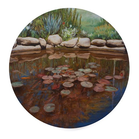 'Koi Pod in Connecticut' is a realistic landscape painting by 'Kyle Andrew Phillips'. It is 20 inches in diameter done in oil on a wood panel tondo.
