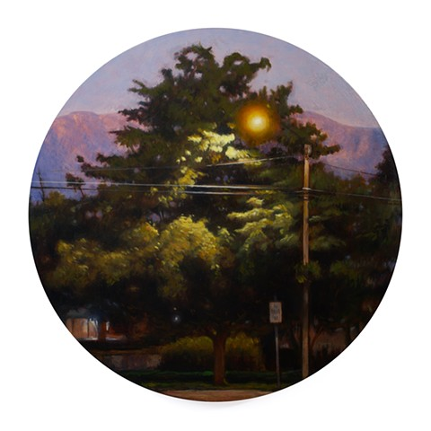 'Tree in Springville, Utah' is a realistic landscape painting by 'Kyle Andrew Phillips'. It is 20 inches in diameter done in oil on a wood panel tondo.