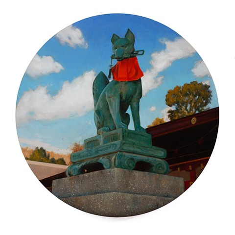 'Kitsune Guardian at Fushimi Inari-taisha' is a realistic landscape painting by 'Kyle Andrew Phillips'. It is 20 inches in diameter done in oil on a wood panel tondo.