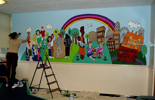 Tavistock Centre, London waiting room mural (work in progress)