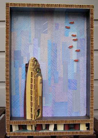 assemblage art, collage, ocean liner