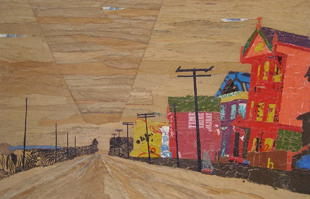 collage, san francisco landscape, paper bags