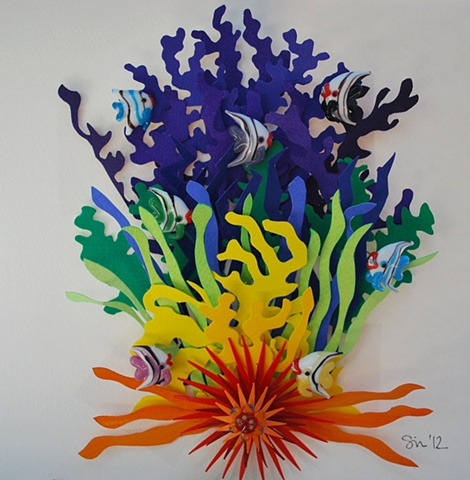 hand cut paper, paper art, paper artist, paper sculpting, paper sculpture, paper craft, reef, ocean, fish