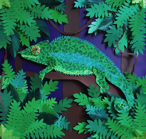 hand cut paper, paper art, paper artist, paper sculpting, paper sculpture, chameleon, lizards