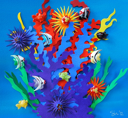 hand cut paper, paper art, paper artist, paper sculpting, paper sculpture, paper craft, reef, coarl reef