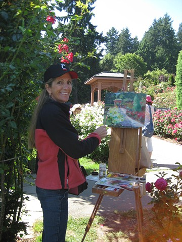 Plein-air painting at the Rose Garden, Portland, Oregon