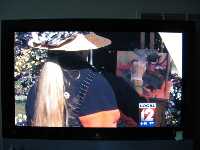 On Channel 12 News painting at the Cincinnati International Flower Show