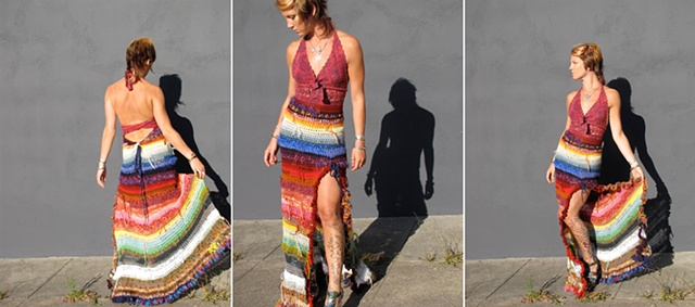 Rainbow dress crochet formal halter vintage upcycle
