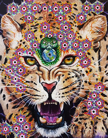 ayahuasca, leopard, visionary art, dmt, psychedelic,