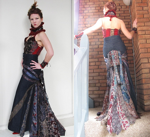 Victorian Steampunk Silk Tie Bustier and Bustled Skirt