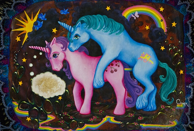 my little ponies, rainbow, sunshine, birds, bubbles, glitter