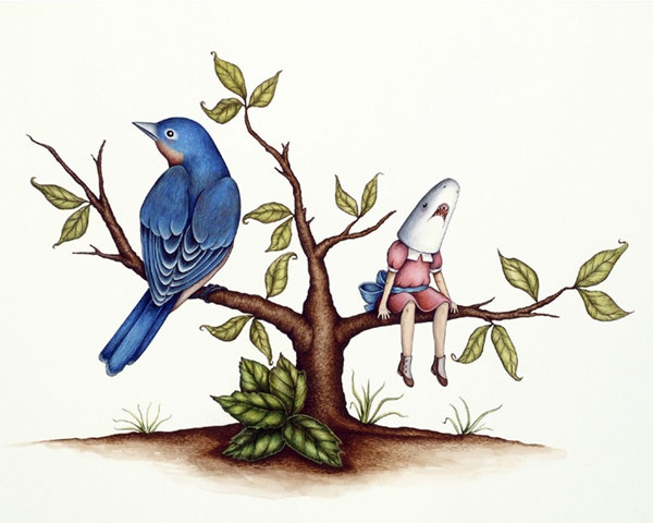 Shark Girl and Blue Bird in Tree