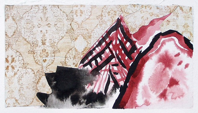 abstract, ink, painting, red, black, beige