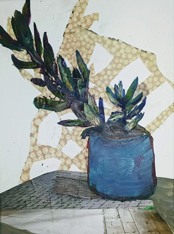 painting, plant, botanical, art, mixed media, green, blue