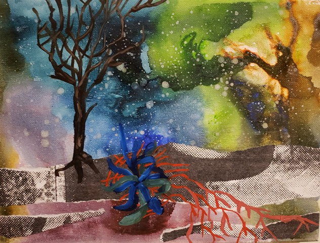 painting, plant, botanical, art, mixed media, green, blue, tree, flowers, stars, sky, abstract