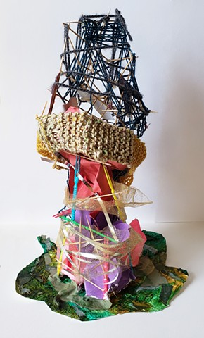 toothpicks, yarn, paint, glue, ribbon, paper, modeling paste, tower, abstract, art , mixed media
