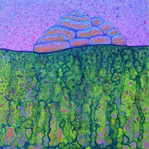 Luminous greens and violets, acrylic, organic, landscape, surreal