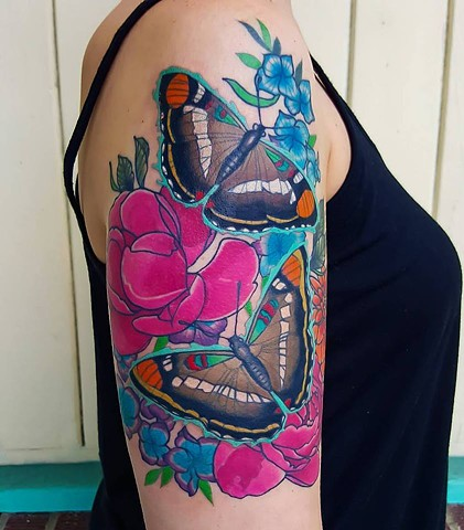 California Sisters Butterfly Tattoo by Adam Sky, San Francisco, California