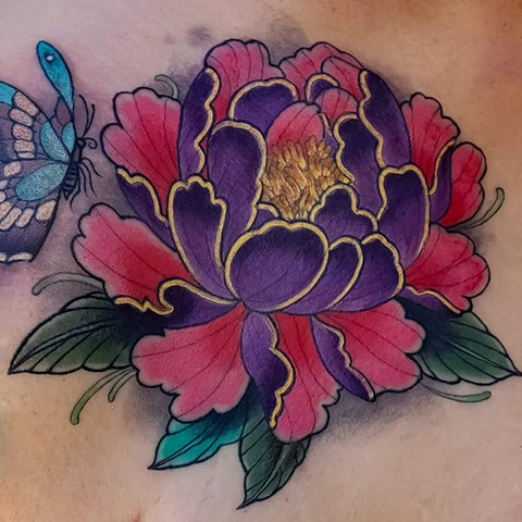 Peony Tattoo by Adam Sky, Redwood City, Bay Area, California