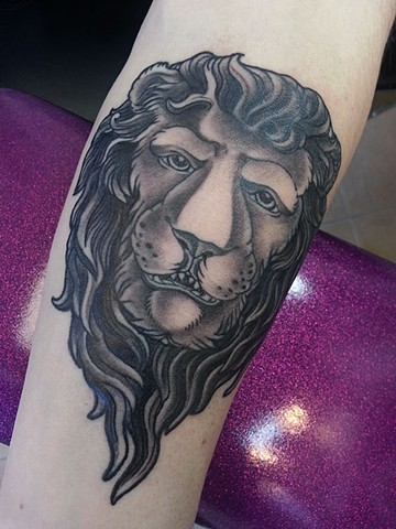 lion tattoo by Adam Sky, San Francisco, California