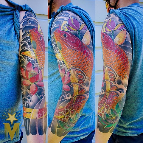 Koi Fish Sleeve Tattoo by Adam Sky, Morningstar Tattoo Parlor, Belmont, Bay Area, California