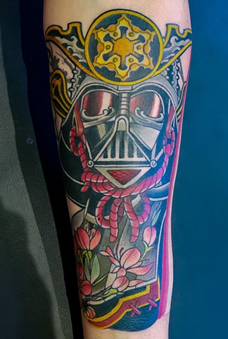 Darth Vader Samurai Tattoo by Adam Sky, Hold Fast Studio, Redwood City, Bay Area, California
