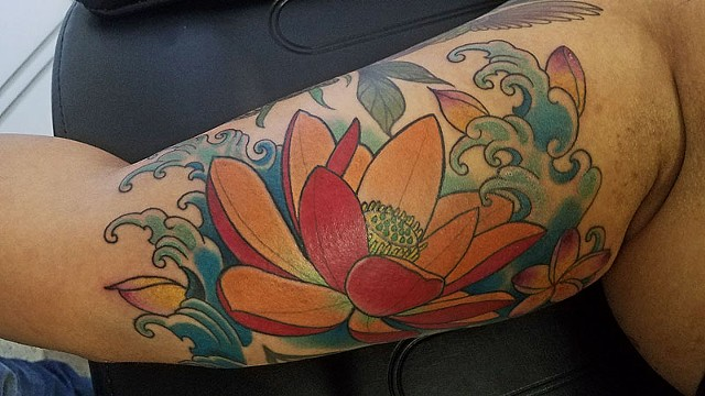 Lotus and Hibiscus Flower Tattoo by Adam Sky, San Francisco, California