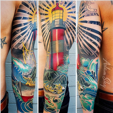 Lighthouse Tattoo by Adam Sky, San Francisco, California