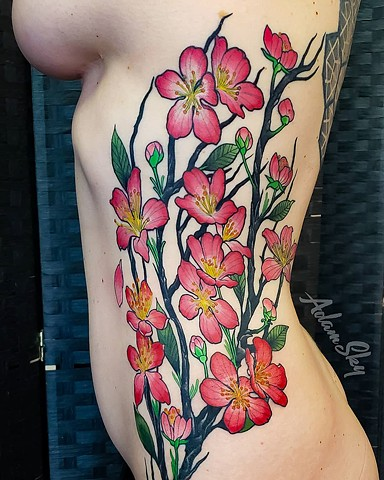 Cherry Blossom Branch Tattoo by Adam Sky, Hold Fast Studio, Redwood City, California