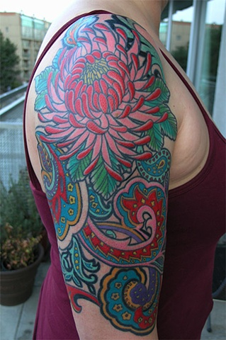 Paisley tattoo by Adam Sky, San Francisco, California