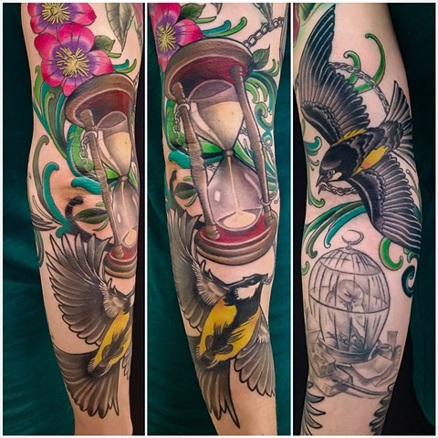 Birds and Hourglass Tattoo by Adam Sky, San Francisco, California