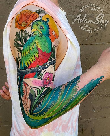 Quetzal Tattoo by Adam Sky, Redwood City, Bay Area, California