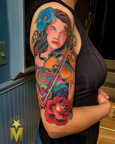 Art Nouveau Violinist Tattoo by Adam Sky, Morningstar Tattoo Parlor, Belmont, Bay Area, California
