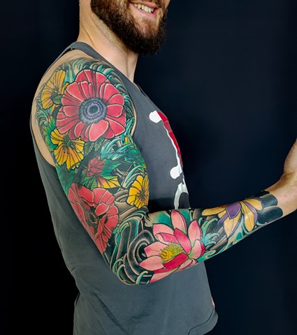 Poppy and Lotus Flower Sleeve Tattoo by Adam Sky, San Francisco, California