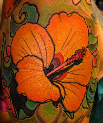 hibiscus tattoo by Custom tattoos by Adam Sky, San Francisco, California