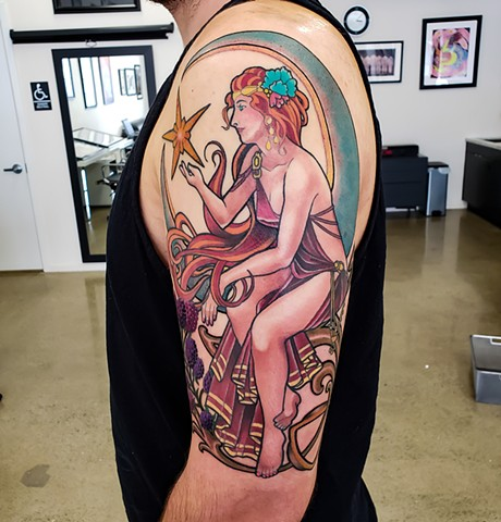Art Nouveau Moon Woman Tattoo by Adam Sky, San Francisco, California