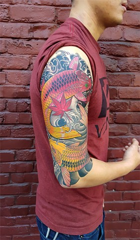 Koi Fish tattoo by Custom tattoos by Adam Sky, San Francisco, California