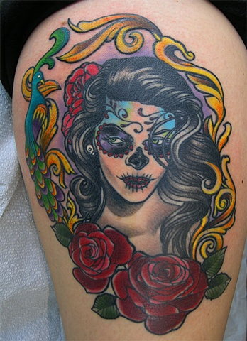 c4bfd9796b68a Day of the dead girl tattoo by Adam Sky, San Francisco, California