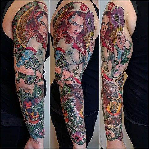 Nurse Sleeve tattoo by Custom tattoos by Adam Sky, San Francisco, California