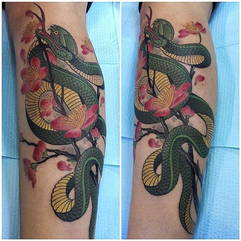 Allessandra's snake tattoo by Custom tattoos by Adam Sky, San Francisco, California