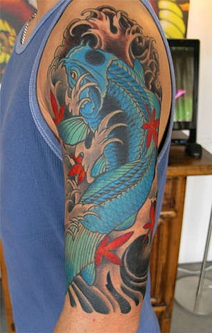 Blue koi fish and Japanese maple tattoo by Adam Sky, San Francisco, California