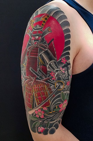 Samurai tattoo by Adam Sky, San Francisco, California