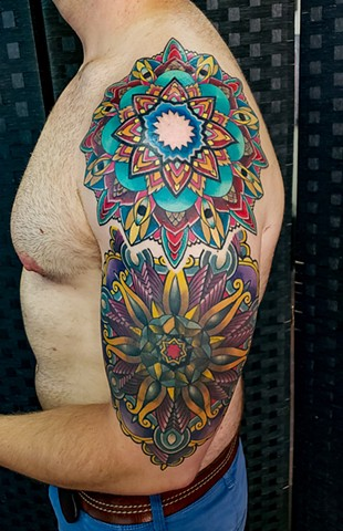 Color Mandala Half Sleeve Tattoo by Adam Sky, Hold Fast Studio, Redwood City, California