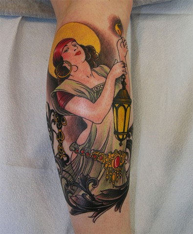 Chelsea's gypsy lamplighter tattoo by Custom tattoos by Adam Sky, San Francisco, California