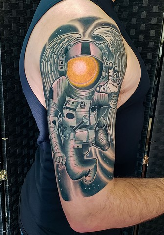 Icarus Astronaut Tattoo by Adam Sky, Hold Fast Studio, Redwood City, Bay Area, California