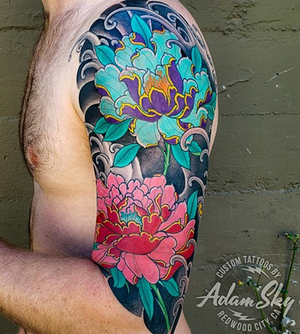 Peony Flower Half Sleeve Tattoo by Adam Sky, Redwood City, Bay Area, California