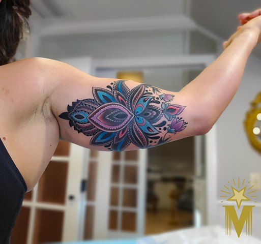 Lotus Flower Tattoo by Adam Sky, Morningstar Tattoo, Belmont, Bay Area, California