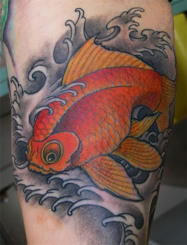 gold fish tattoo by Custom tattoos by Adam Sky, San Francisco, California